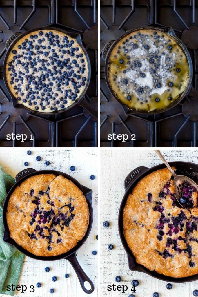 Four images showing how to make a blueberry cobbler in a cast-iron skillet.