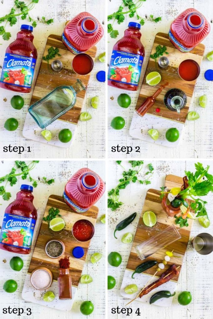 Four step-by-step recipe images for creating Bloody Maria tequila drinks.