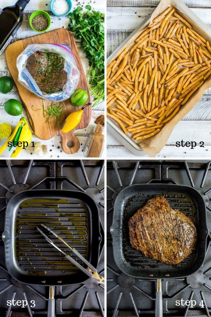 4 step-by-step images showing how to cook carne asada.