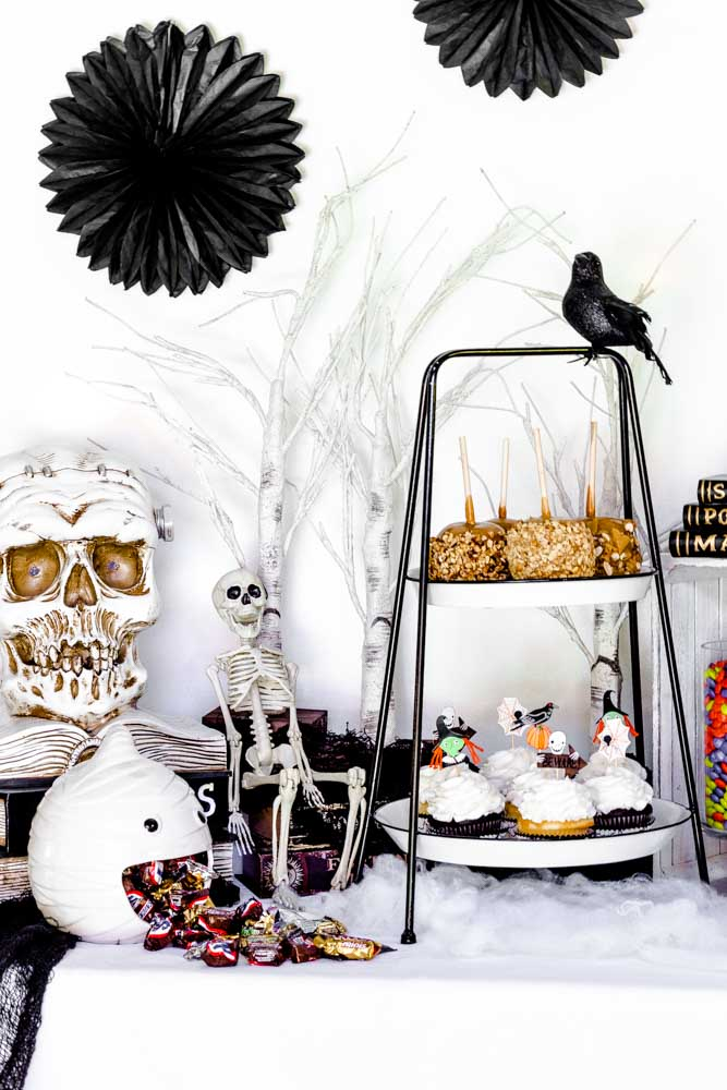 Halloween Party Idea on display atop a white rustic table.