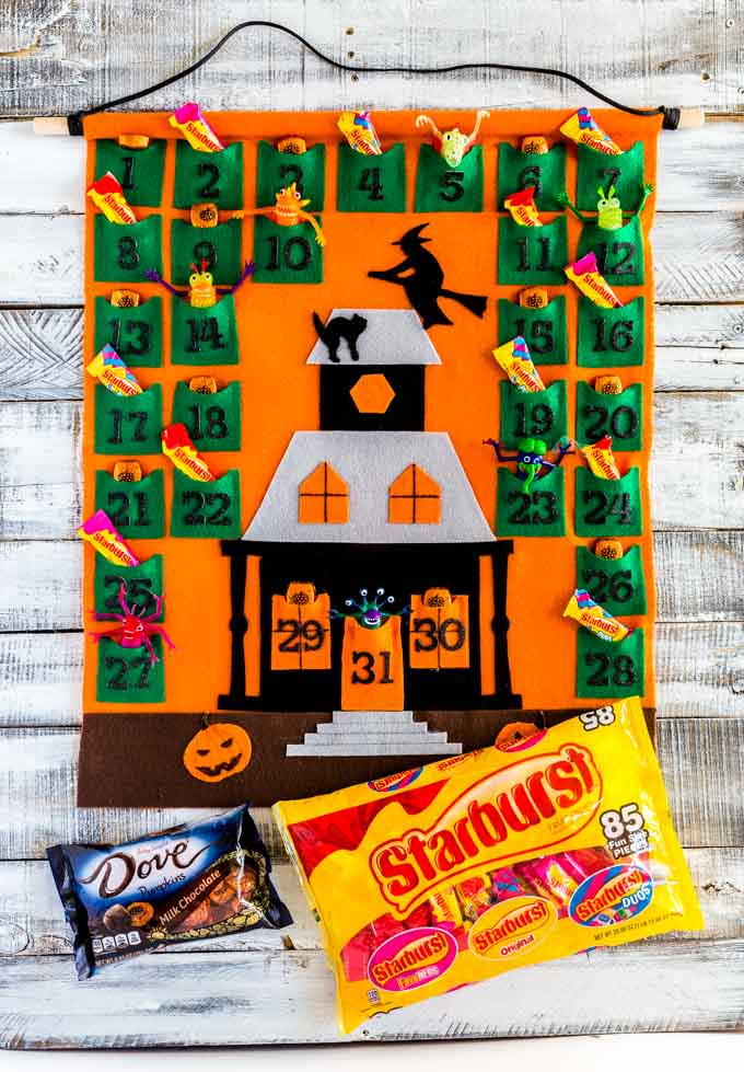 A Halloween Countdown Calendar filled with small candy and toys.