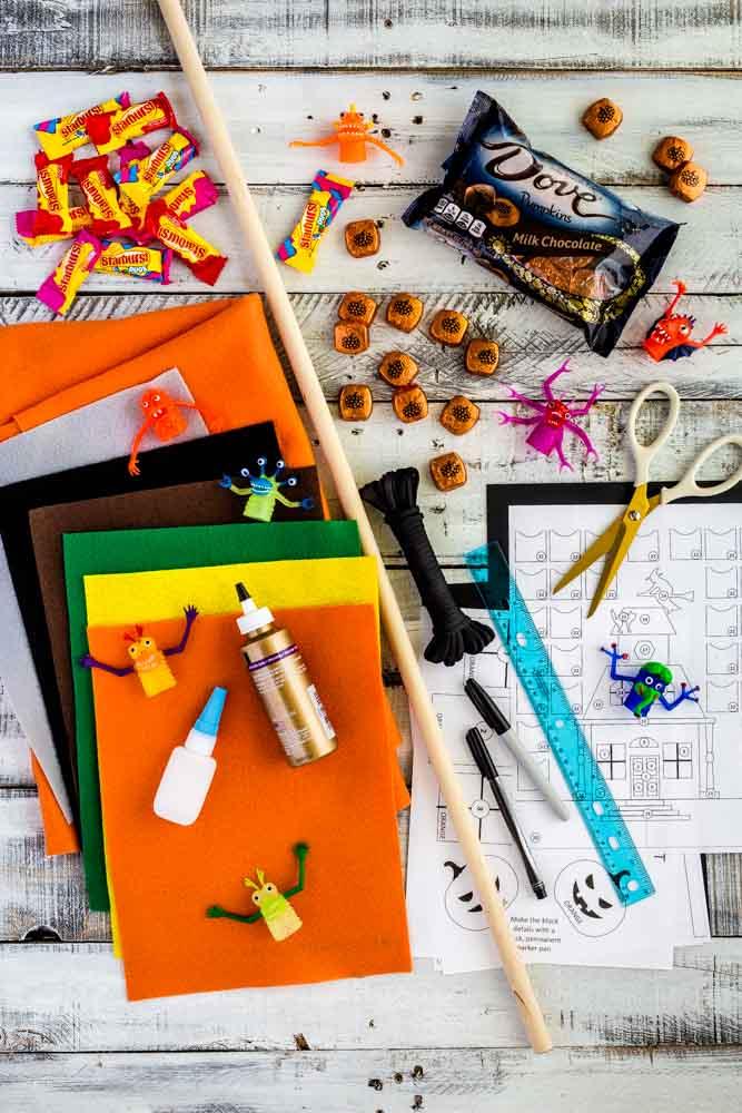 Materials for making a DIY Halloween Advent Calendar