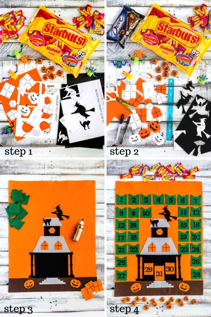 Four step-by-step images of how to make a Halloween Countdown Calendar