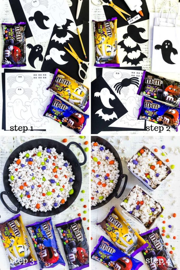 Four step-by-step images showing how to make DIY Halloween popcorn bags for movie night.