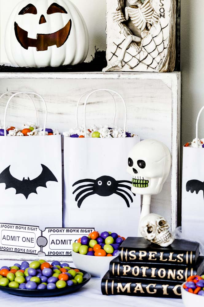 Stylish Halloween Popcorn Bags displayed in a white crate.