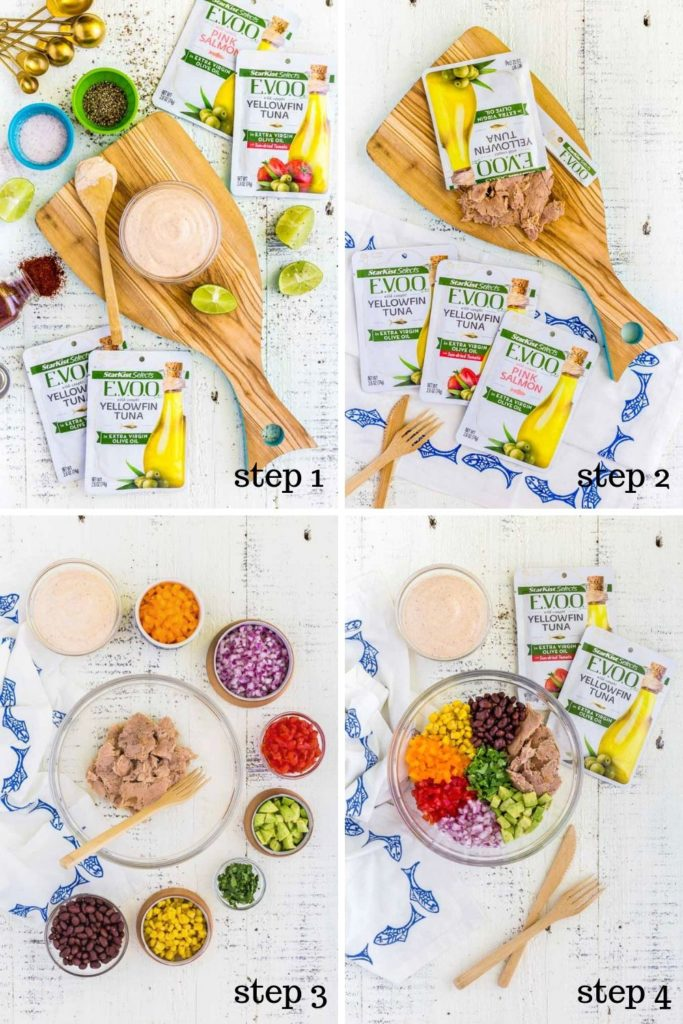 Four step-by-step images showing how to make healthy wraps.