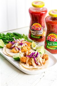 Beer-battered Baja Fish Tacos with chipotle mayo and slaw.