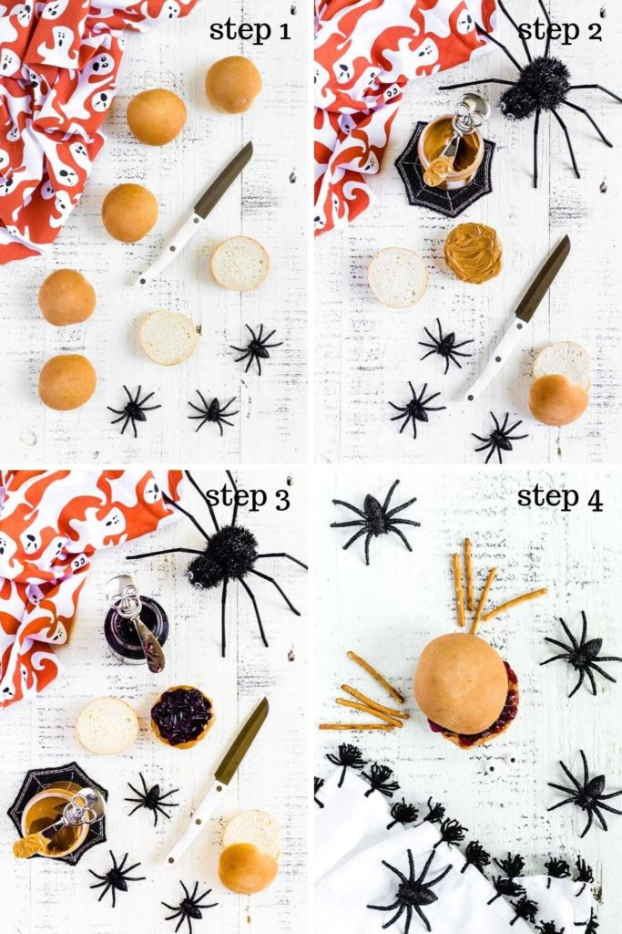 A collage of four images showing how to make peanut butter and jelly Halloween sandwiches.
