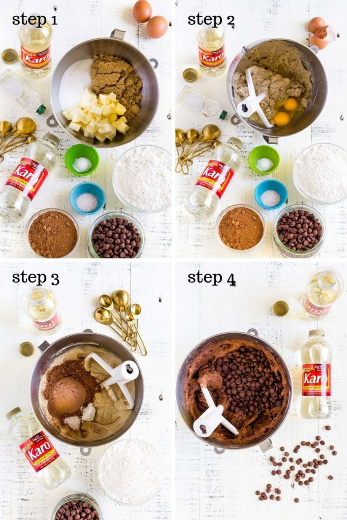 Four images showing step-by-step instructions for how to make chewy cookies.