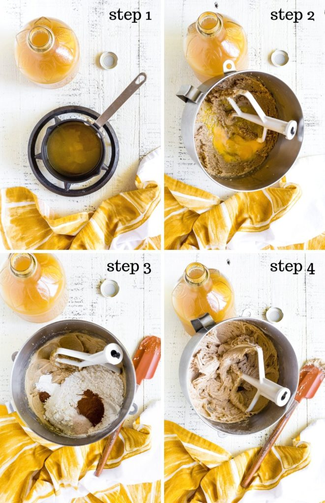 Four step-by-step images showing how to make apple cider donuts.