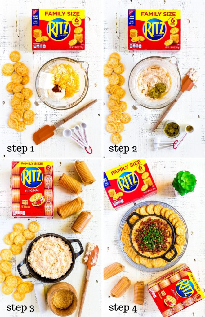 Four step-by-step images showing how to make cream cheese dip.