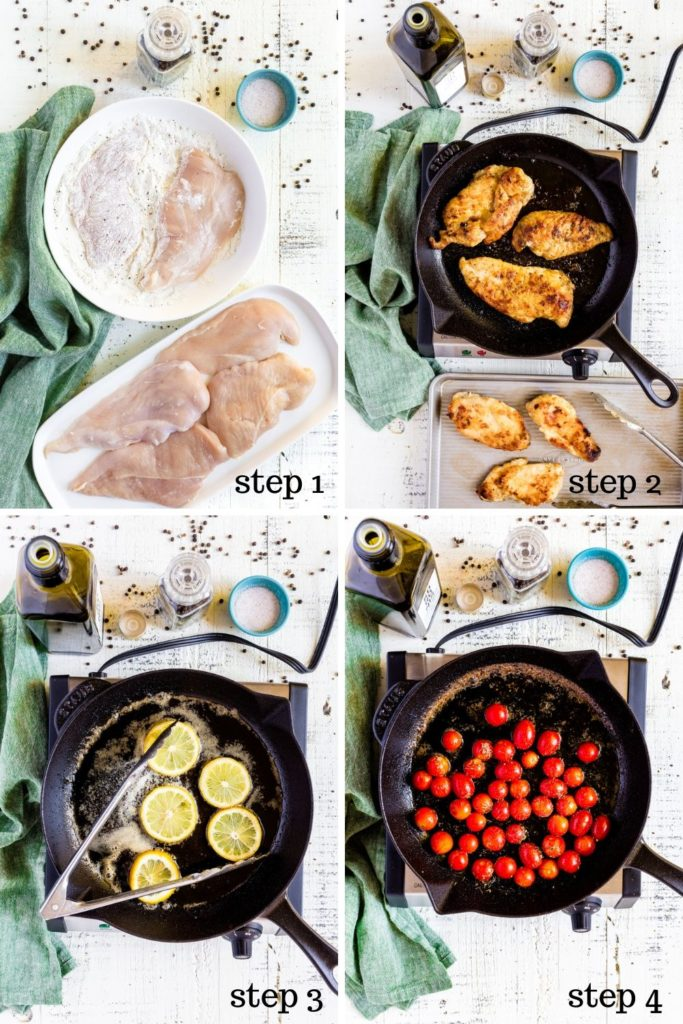 Four images showing step-by-step instructions for lemon healthy chicken piccata.
