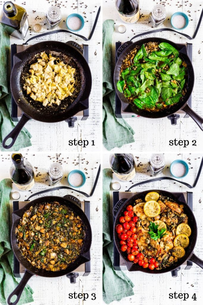 Four recipe images showing how to make lemon chicken piccata step by step.
