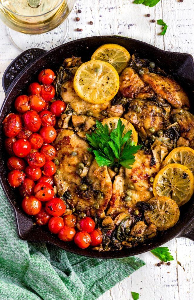Pinterest image for lemon chicken piccata recipe.