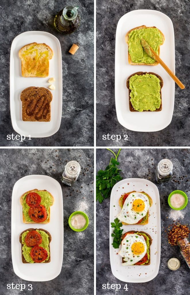 Four images showing how to assemble avocado toast with egg and charred tomatoes.