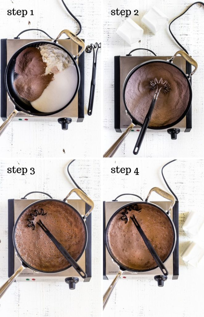 Four step-by-step recipe images showing how to make chocolate pudding at home.