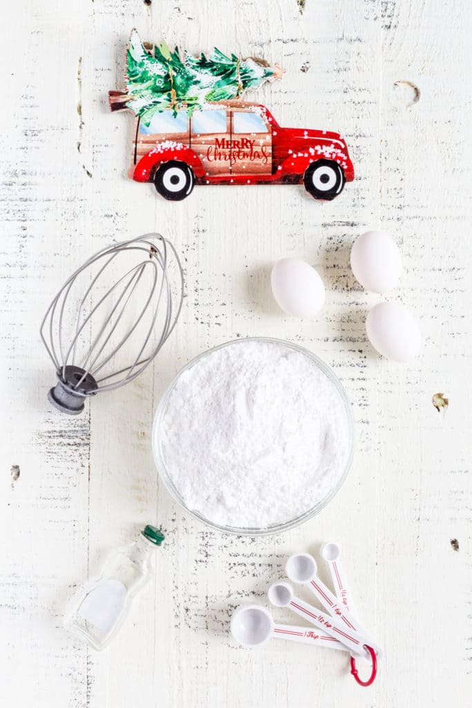Ingredients for making a batch of Royal Icing.