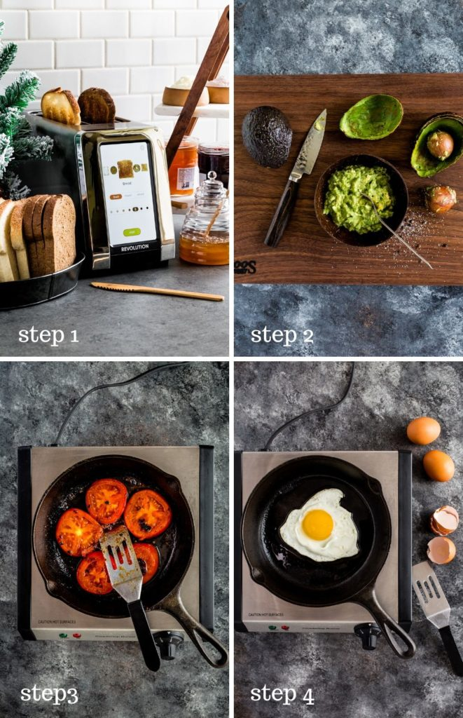 Four images showing how to make avocado toast at home.