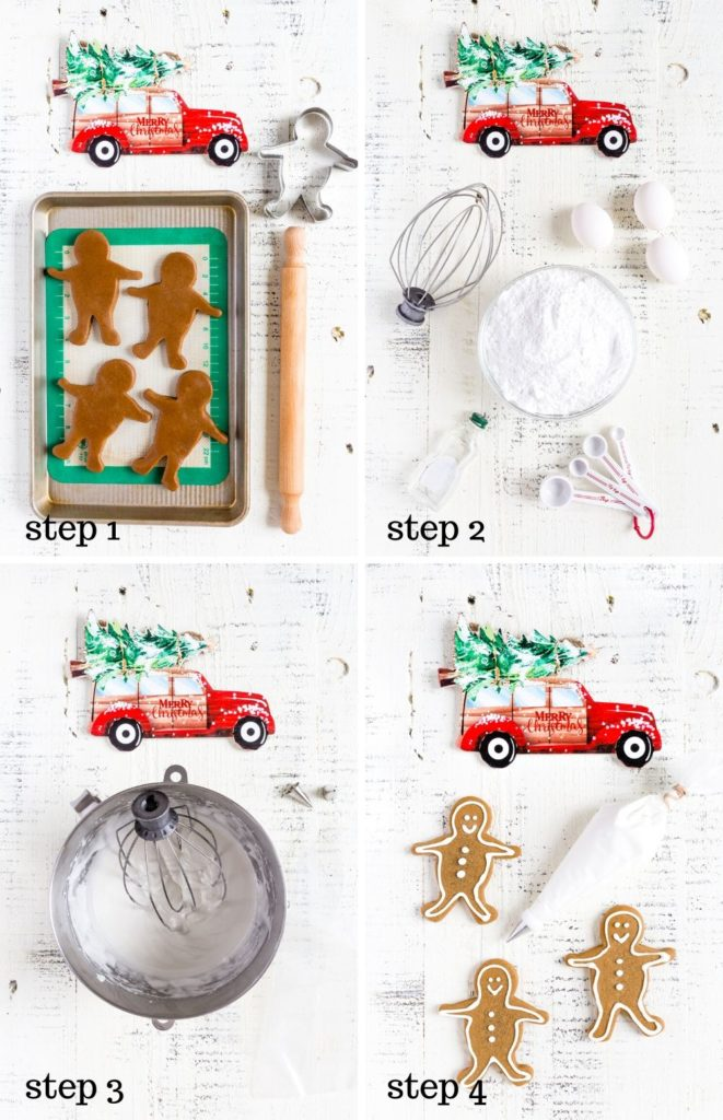 Four images showing how to make gingerbread cookies and royal icing step by step.