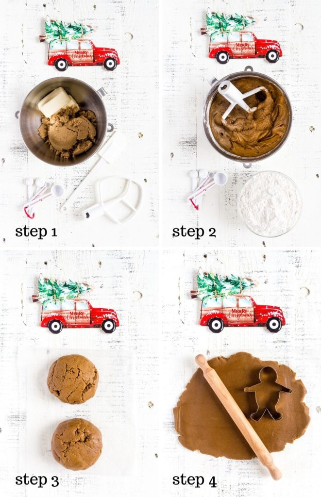 Four images showing step-by-step instructions for making Gingerbread Man Cookies.