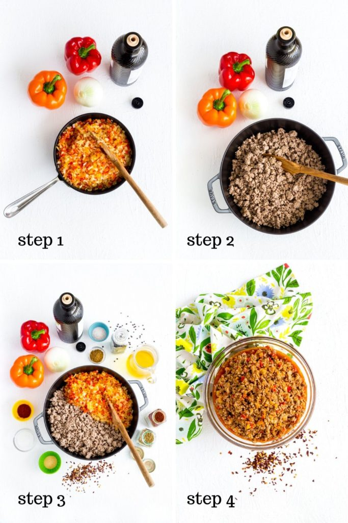 Four step-by-step images showing how to make filling for beef empanadas.