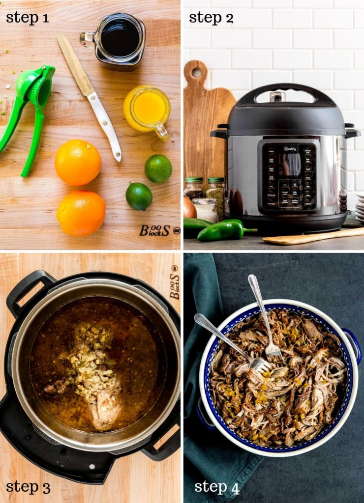 Four images showing how to make Instant Pot carnitas.