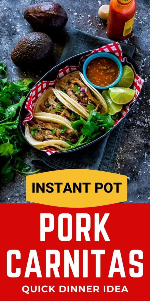 Instant Pot Pork Carnitas Tacos served in a metal food tray.