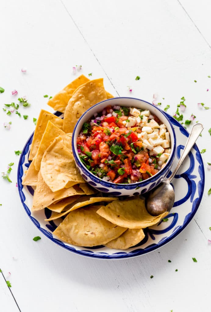 Homemade Salsa served with restaurant-style tortilla chips.