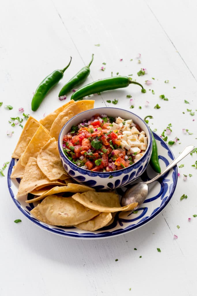 Chips and salsa served in authentic Mexican handmade serveware.