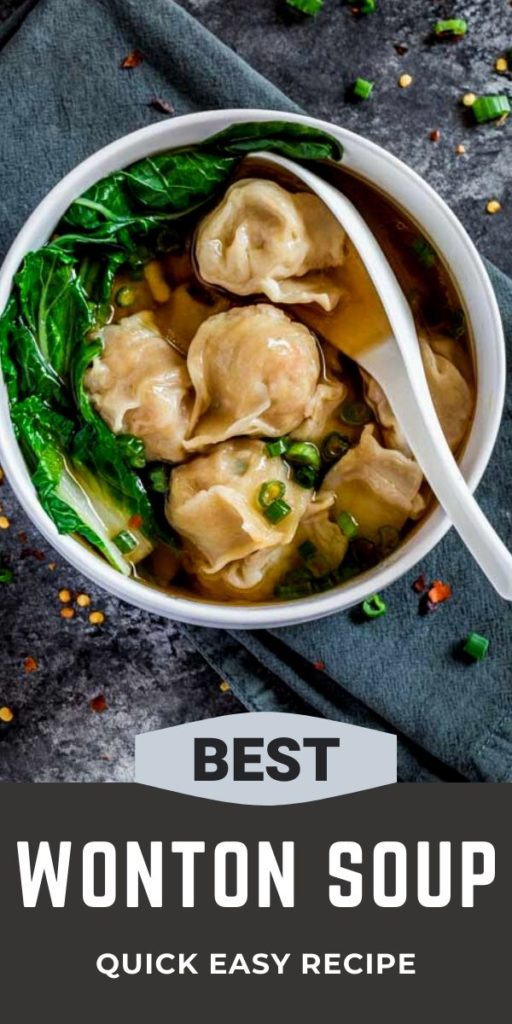 Pinterest image for best wonton soup recipe.
