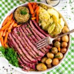 Pintrest graphic for corned beef and cabbage recipe.