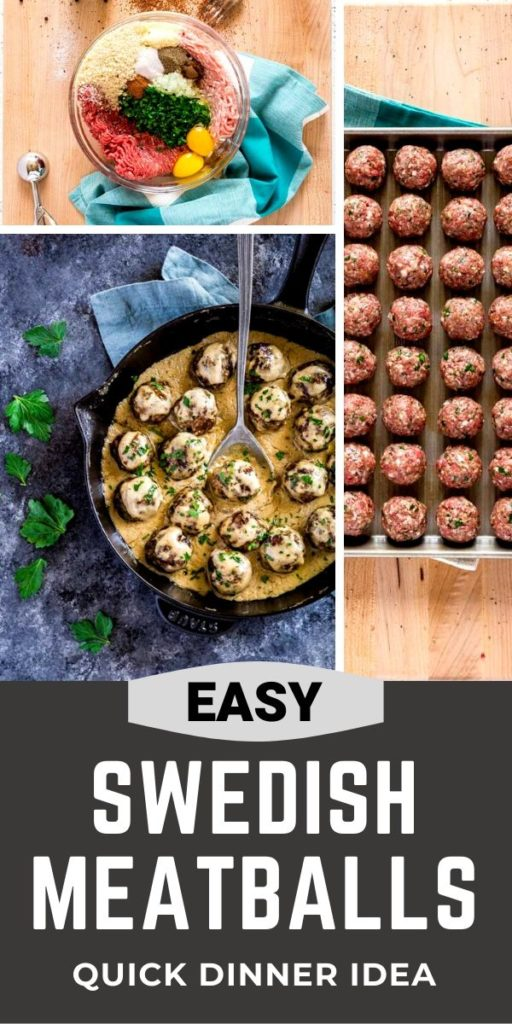 Pinterest graphic for Best Swedish Meatballs and Gravy
