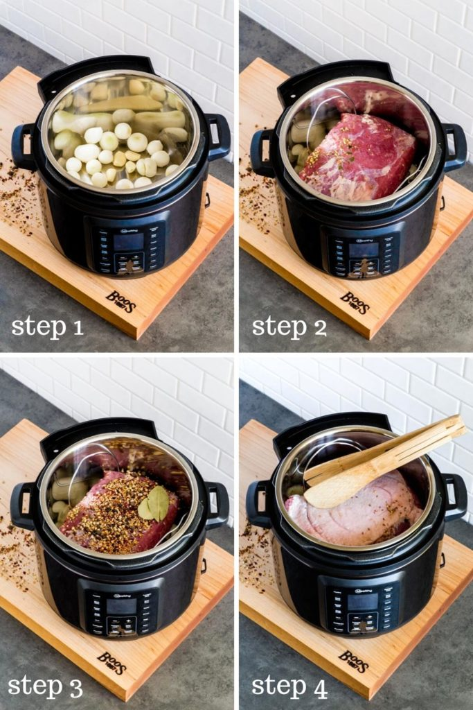 Four image showing how to make corned beef and cabbage in a pressure cooker.