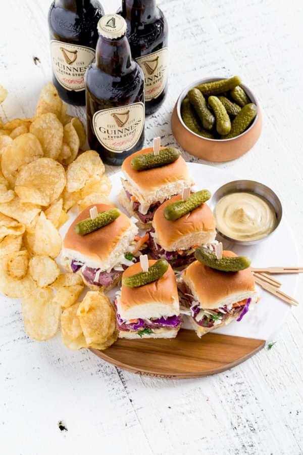 Guinness corned beef sliders on Hawaiian rolls.