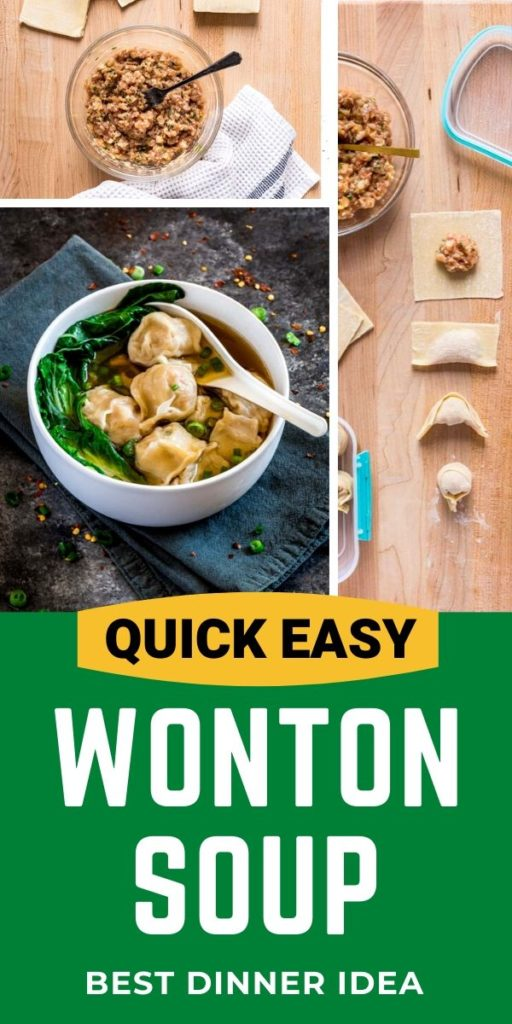 Pinterest image for easy wonton soup recipe