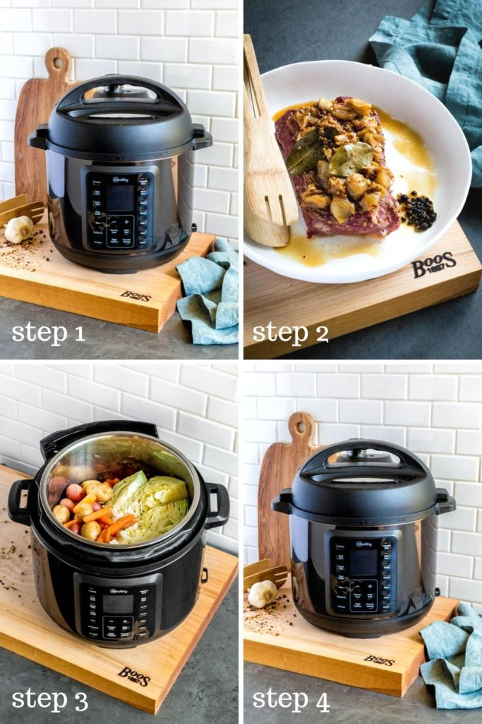 Four step-by-step images showing how to make beef brisket in a pressure cooker.
