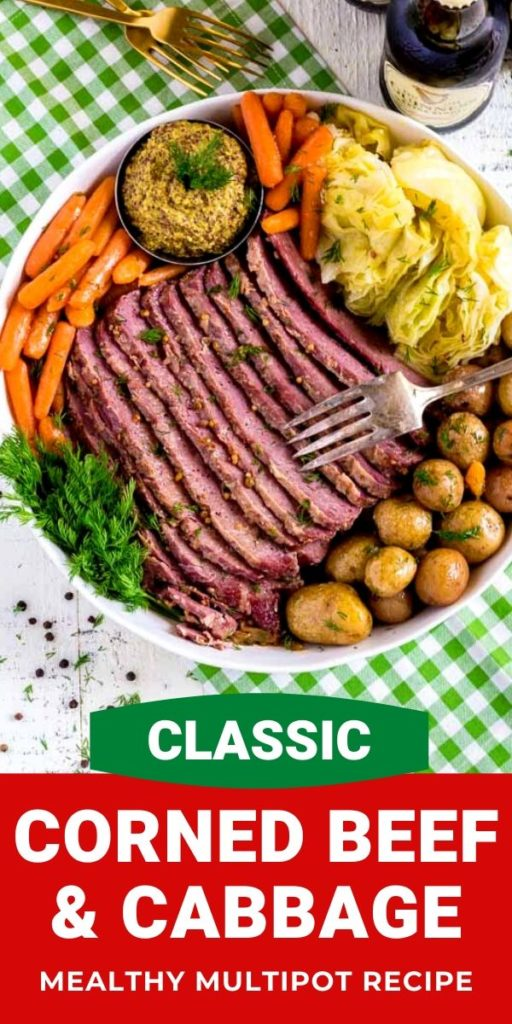 Mealthy pressure cooker corned beef and cabbage.