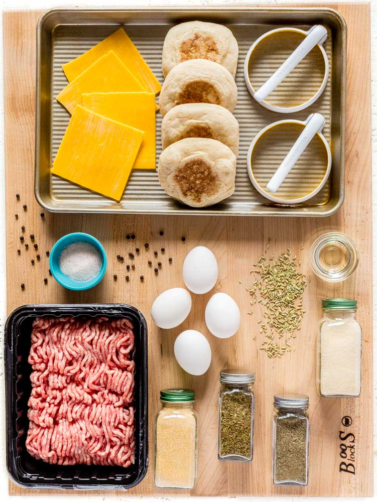 Ingredients for copycat Sausage Egg McMuffin recipe on a John Boos Board.