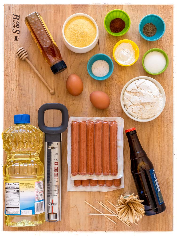 Ingredients for making the best corn dogs!