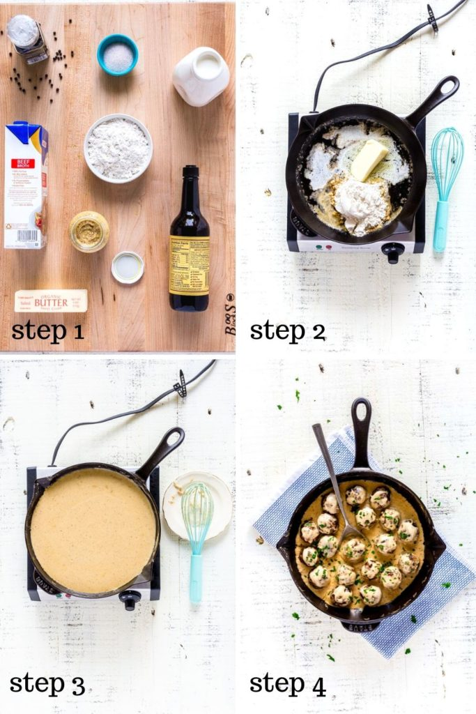 Four-image collage showing how to make Swedish meatball sauce, step by step.
