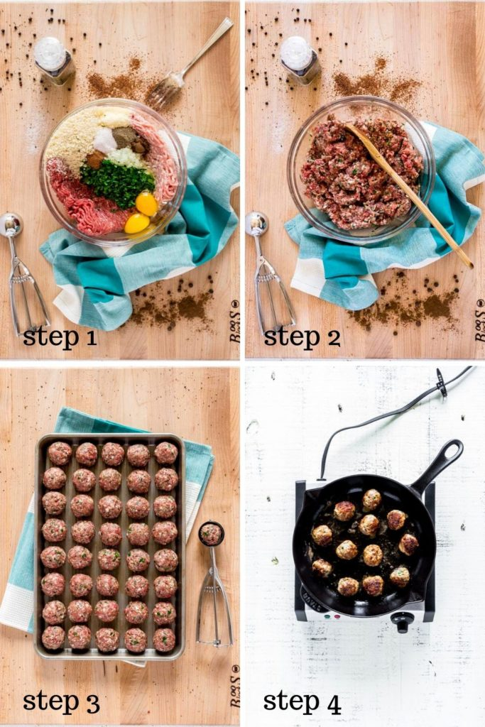 Four-image collage showing how to make Swedish meatballs from scratch.