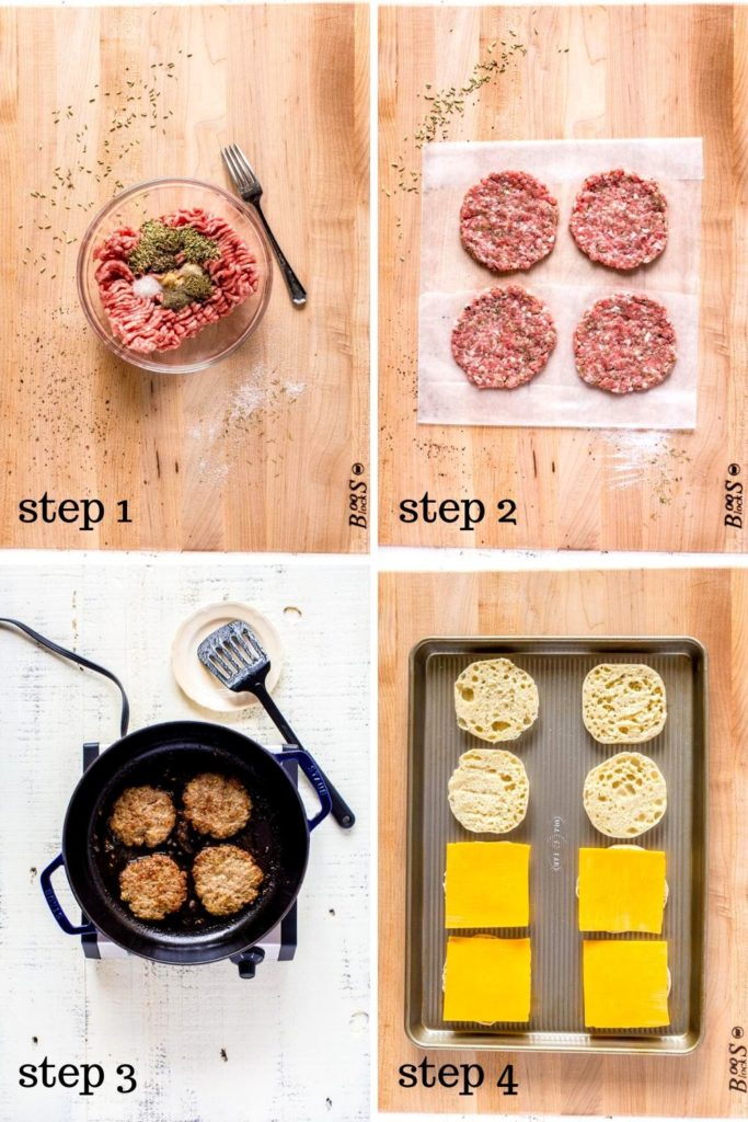 Four images showing how to make a McDonald's breakfast sandwich.