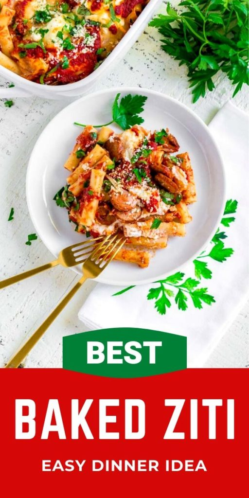 Pinterest graphic for best baked ziti recipe.