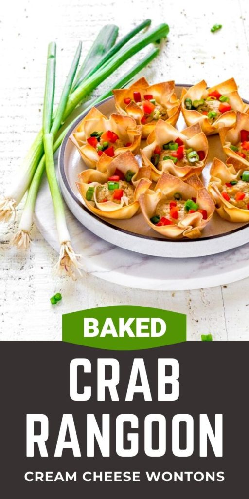 Pinterest graphic for easy baked crab rangoon.