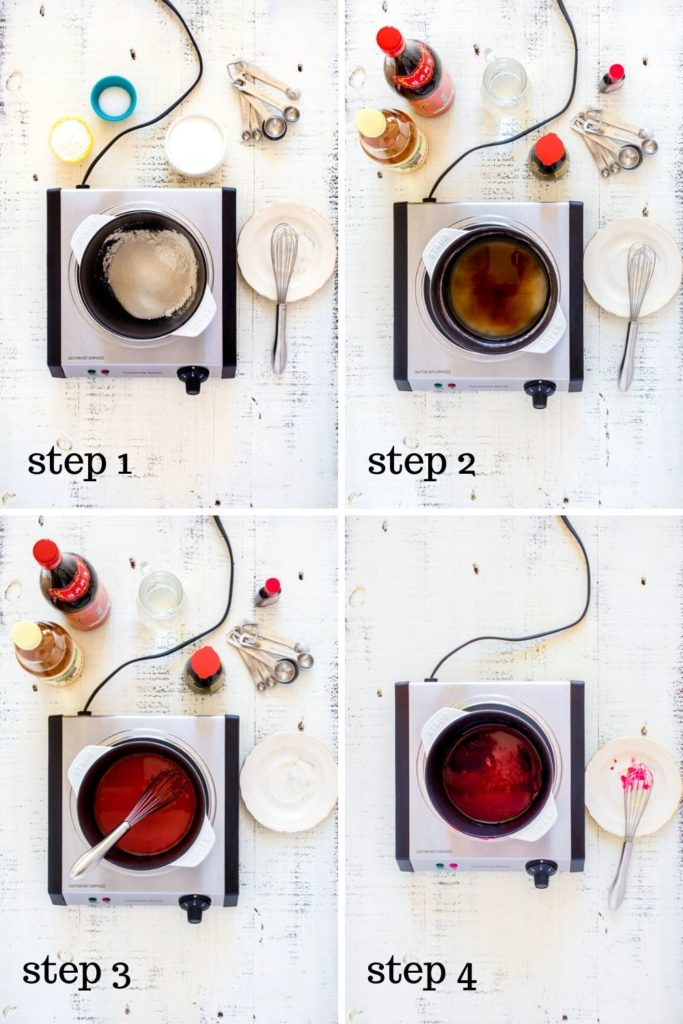 4-image collage showing how to make sweet and sour sauce, step by step.