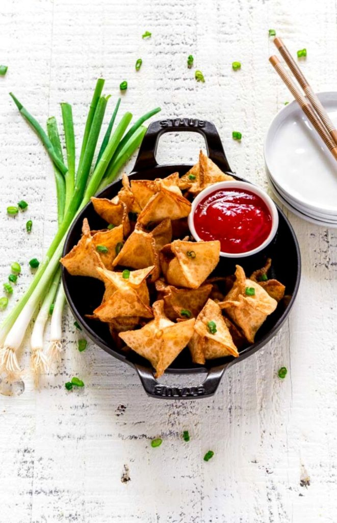 Pinterest image for cream cheese wontons.