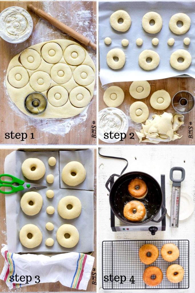 4 images showing how to make fried donut recipe, step by step.