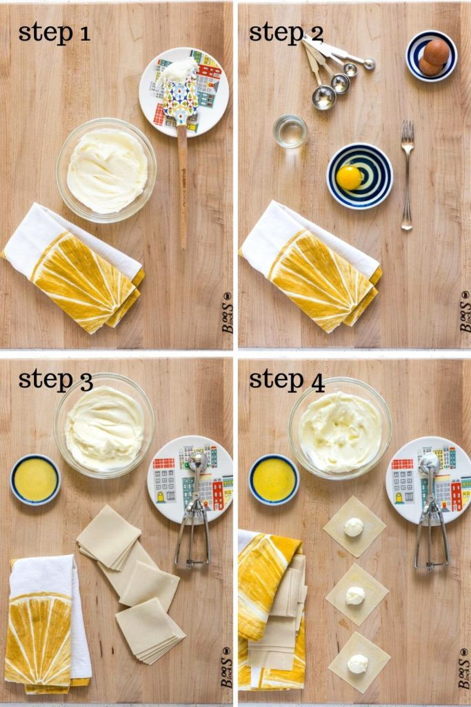 4-images showing how to make cream cheese wontons, step by step.