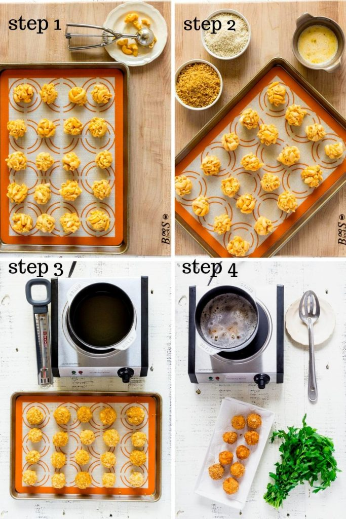 Four-image collage showing how to Make Mac and Cheese Balls, step by step.