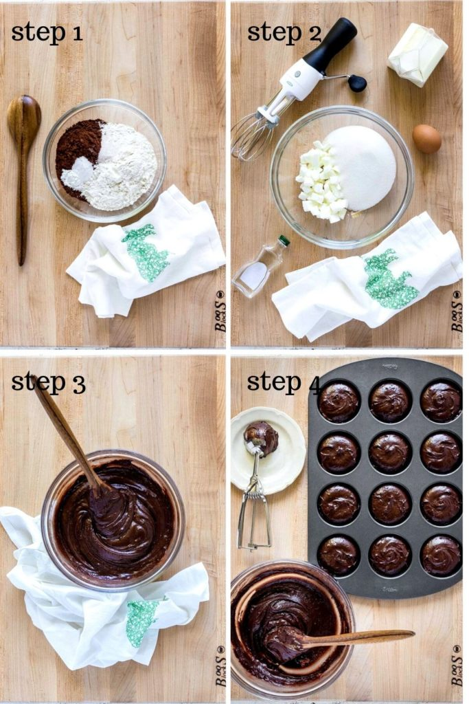 Four-image collage showing how to make whoopie pies step by step.